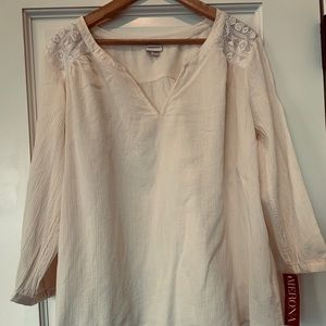 Merona cream colored gauzy blouse size XL